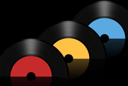 Vintage vinyl records isolated on white background