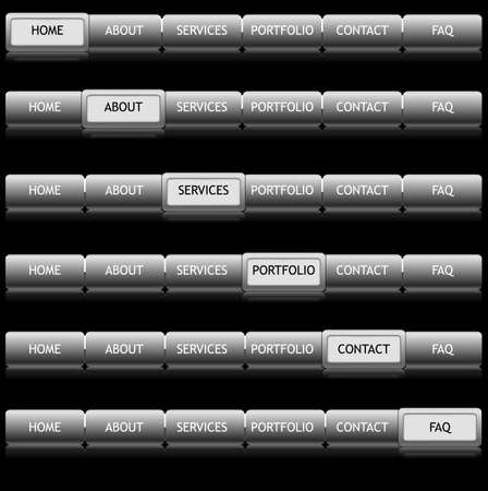 The set of buttons for site on the black background