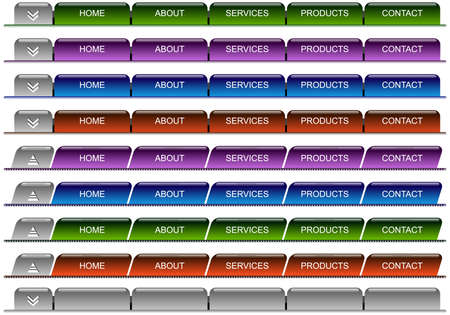 Set of designed horizontal menu on the white background Stock Photo