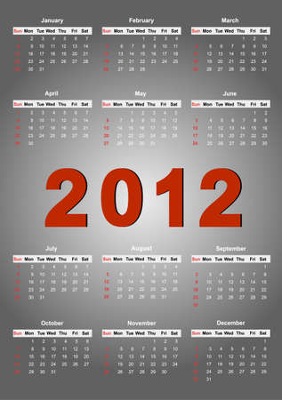 2012 annual calendar template on the gray background. Weeks start on Sunday. EPS file available