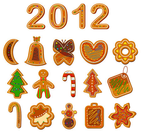 Set of christmas cookies on the white background. Vector illustration