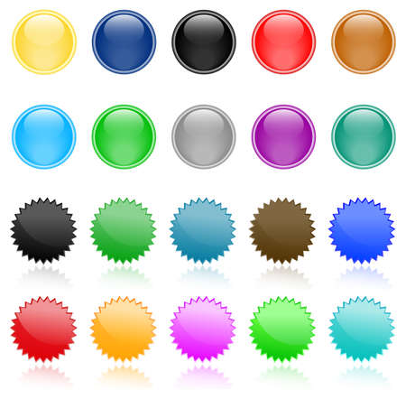The set of colored glossy web buttons