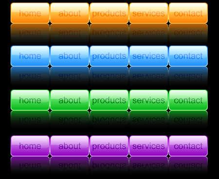 Set of designed horizontal menu