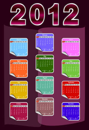 2012 annual calendar template. Weeks start on Sunday. EPS file available Illustration