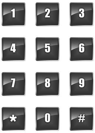 teclado numerico: Números cuadrados botones aqua negro aislado Vectores