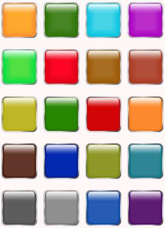 cuadrados: El conjunto de brillantes botones web Vectores