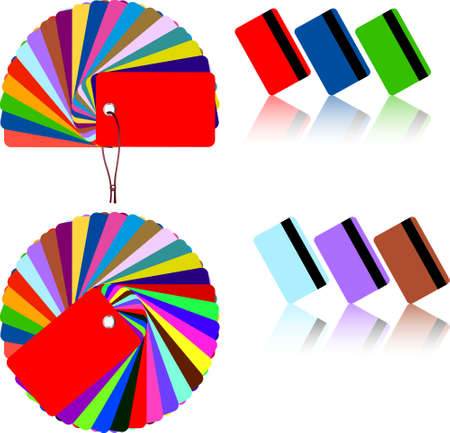 Coloured plastic cards, template for design on the white background. EPS file available