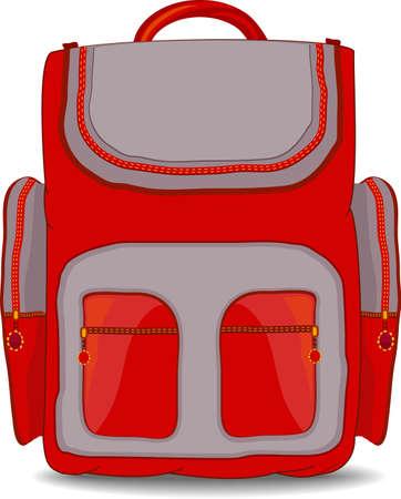 mochila escolar: Ilustración de la mochila escolar para niño aislado sobre fondo blanco