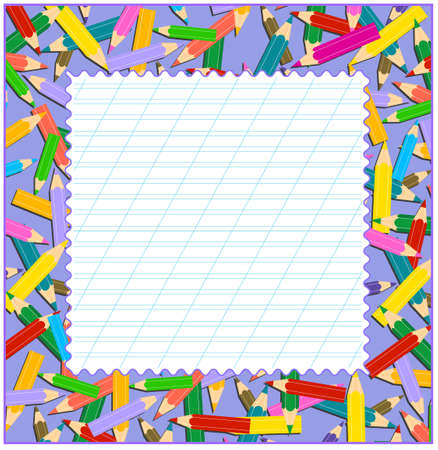 Coloured pencil border with copy space