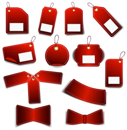 The set of red stickers on the white background. Vector illustration (JPG+EPS) Vektorové ilustrace