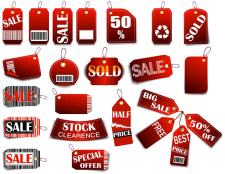Red Sales Tag with space for text and barcode. Vector illustration  (JPG+EPS)