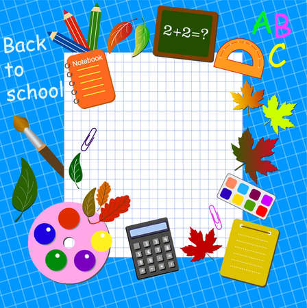 Back to school background with stationery and place for text.illustration