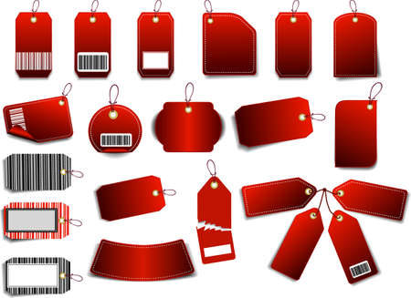 Red Sales Tag with space for text and barcode.