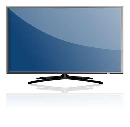 Bleu écran plat de télévision moderne, isolé sur fond blanc.
