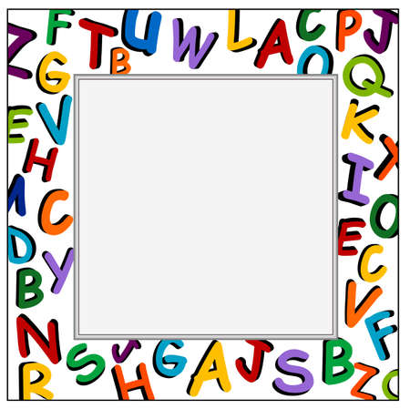 Alphabet on the white frame with copy space for school