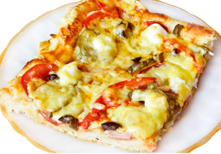 A slice of thin crust pizza on a plate isolated on white background Stock Photo