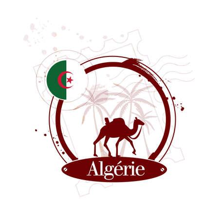 Stamp of Algeria with desert illustration Stock Vector - 17192066