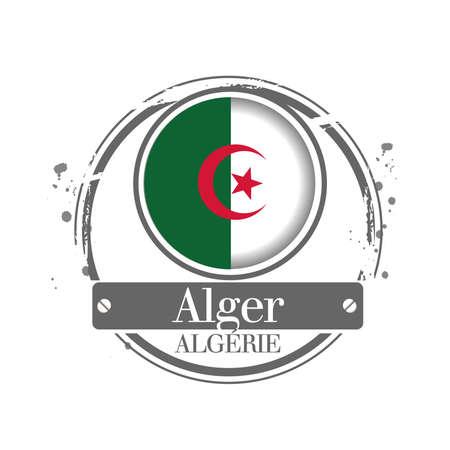 alger: Timbro Alger, capitale dell'Algeria Vettoriali