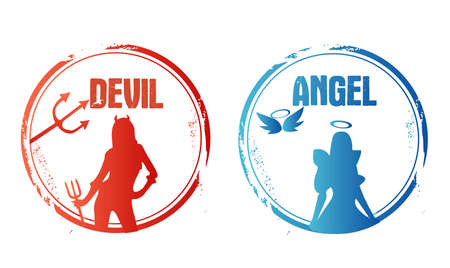 devilish: Stamp with angel and devil