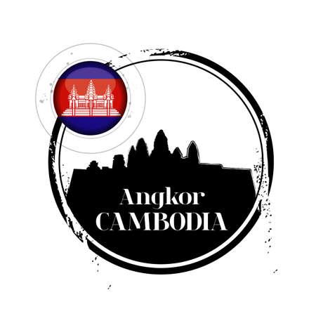 Stamp Angkor, region of Cambodia Vector