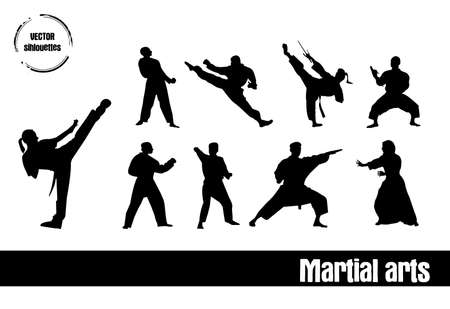 silhouettes of Sport : Martial arts Vector