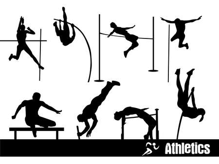 long jump: silhouettes of Sport : Athletics