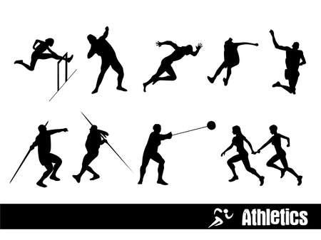 lanzamiento de disco: siluetas de Deporte: Atletismo