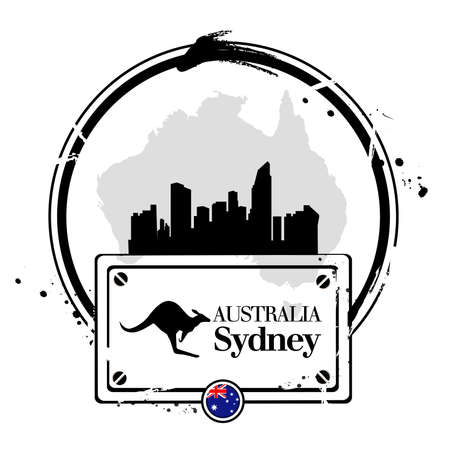 Stamp of Sydney, capital of Australia Vector