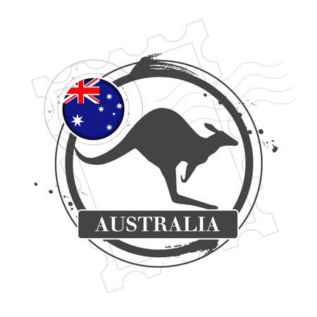 Stamp of Australia with kangaroo Vector