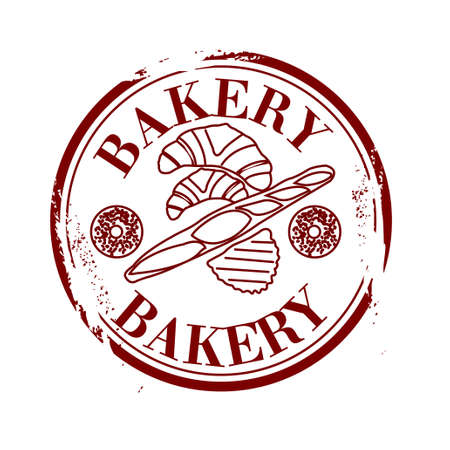 Stamp Bakery with bread Vector