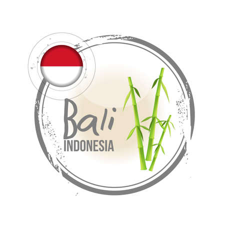 Stamp Bali, island of Indonesia Vector