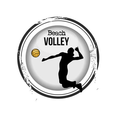 stamp Beach Volley Vector