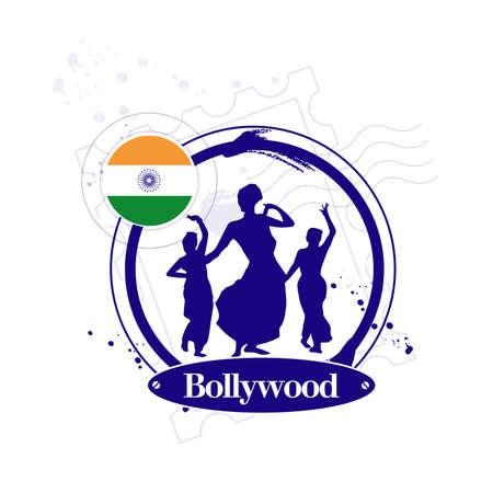 bollywood: Stamp Bollywood Illustration