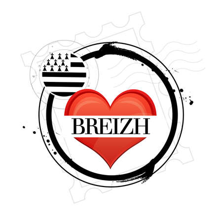 Stamp i love Breizh Vector