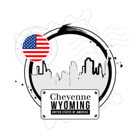 stamp Cheyenne, capital of Wyoming Stock Vector - 17258028