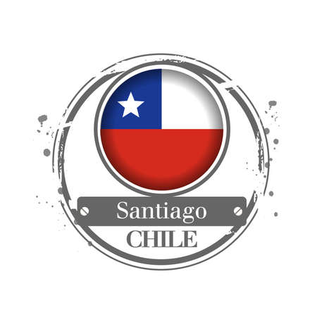 santiago: Stamp Santiago, capital of Chile Illustration