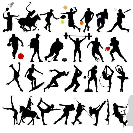 crickets: silhouettes : sport Illustration