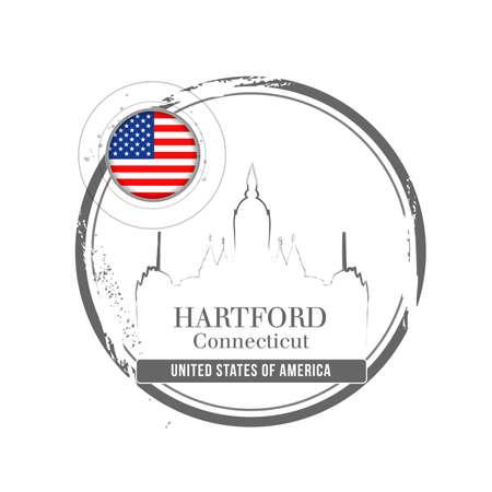 stamp Hartford Stock Vector - 17320827