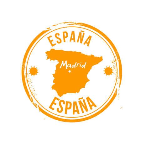 spanish flag: stamp Madrid Illustration