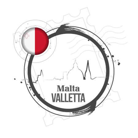 valletta: stamp Malta Illustration