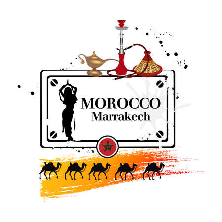 hookah: stamp Marrakech Illustration