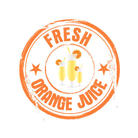 stamp Orange juice Vector