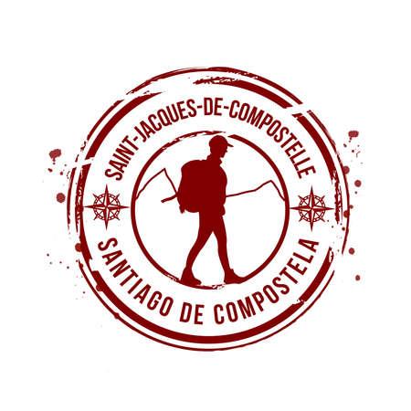 巡礼: Santiago ・ デ ・ コンポステーラをスタンプします。  イラスト・ベクター素材