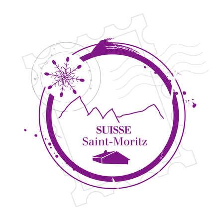 flad: stamp Saint-Moritz Illustration