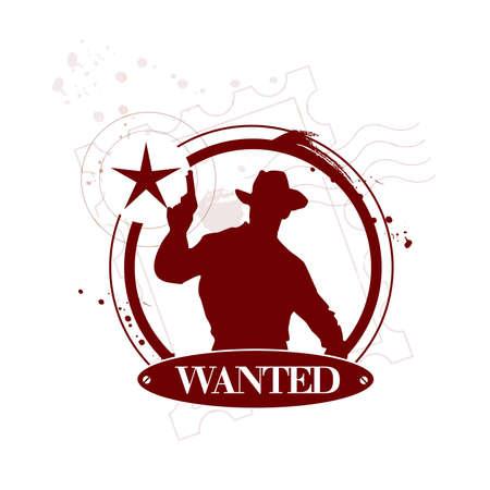 sheriff badge: stamp Wanted Illustration
