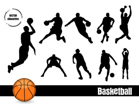 rebounding: Basketball sihouettes Illustration
