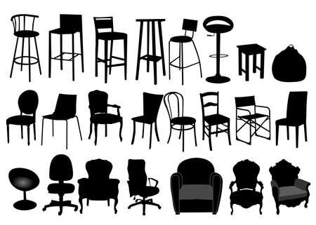 escabeau: silhouettes de chaises Illustration