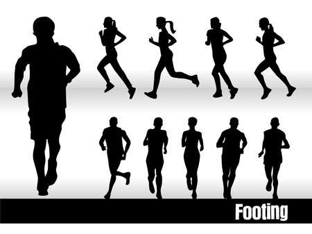 footing: silhouettes footing Illustration