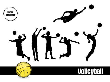 silhouettes Volleyball Vector