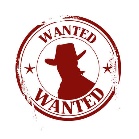 cowboy gun: stamp Wanted Illustration
